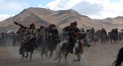 Nomadic Horsemen With Golden Eagles Parading At Bayaan Olgi